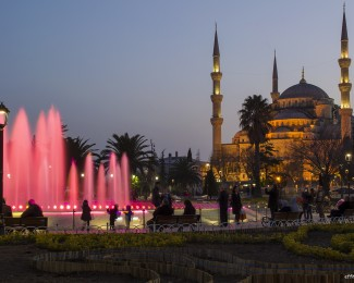 The gorgeous Blue Mosque at night in Istanbul Turkey