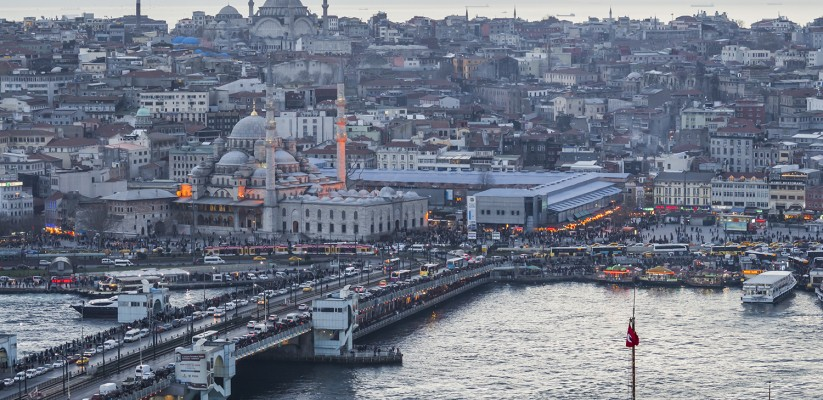 The Yeni Cami Mosque in Istanbul, as seen from the Galata Tower