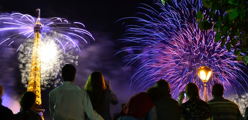 Photo of people watching the fireworks in Paris on Bastille day for the Explore The Elements challenge