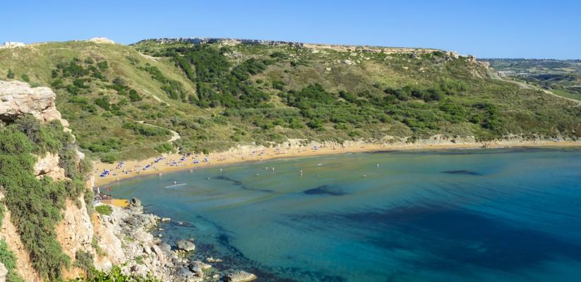 The beautiful Għajn Tuffieħa Bay in Malta